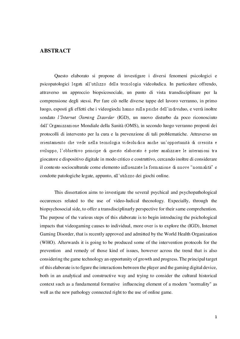 Anteprima della tesi: Verso l'interrealtà: dinamiche psicologiche e derive psicopatologiche dei giochi online, Pagina 2