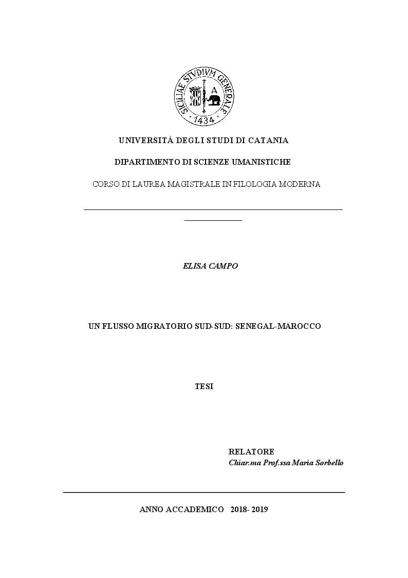 Anteprima della tesi: Un flusso migratorio Sud-Sud: Senegal-Marocco., Pagina 1