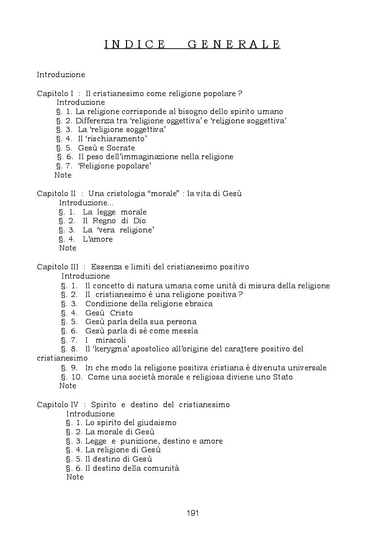 """Indice della tesi: Moralità e religione nei cosiddetti """"Scritti teologici giovanili"""" di Hegel, Pagina 1"""
