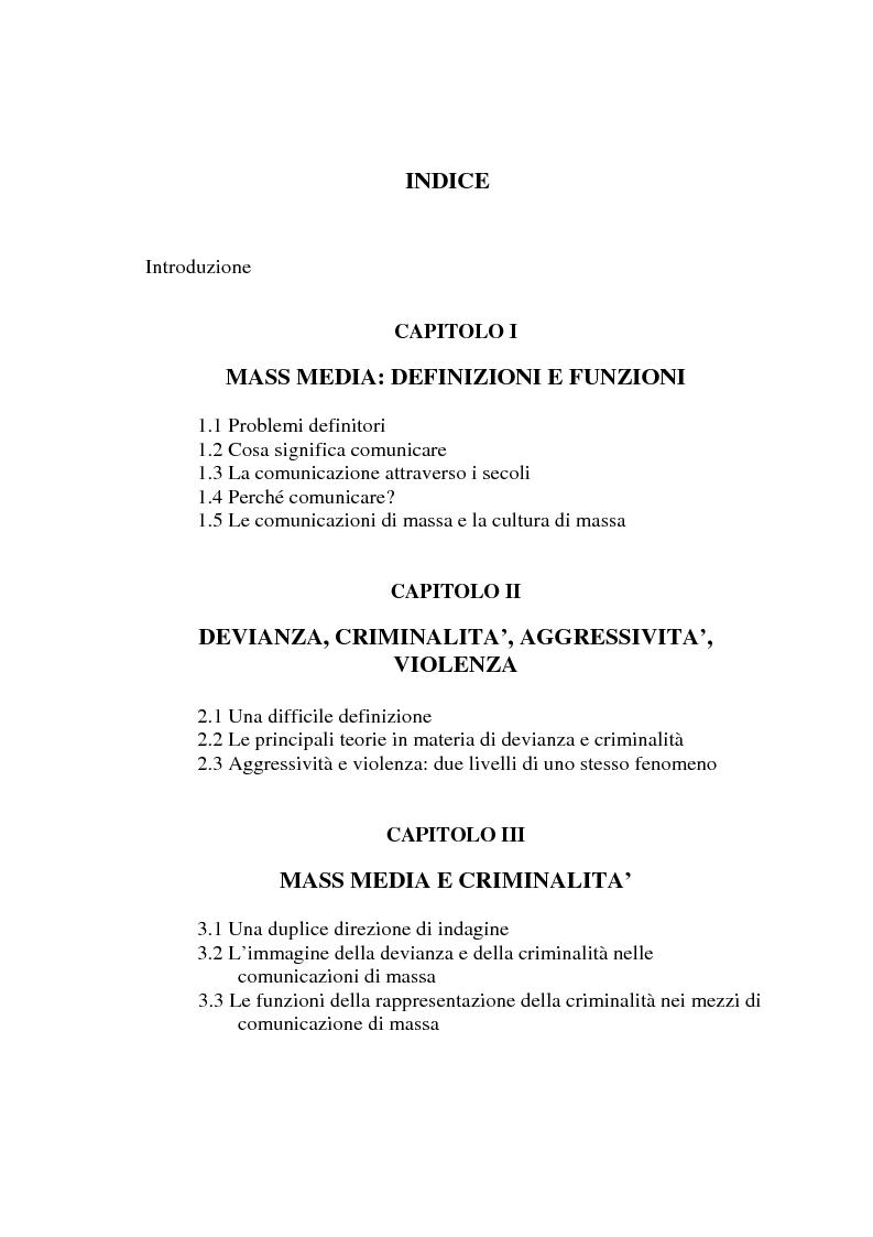 Indice della tesi: Mass media e criminalità, Pagina 1