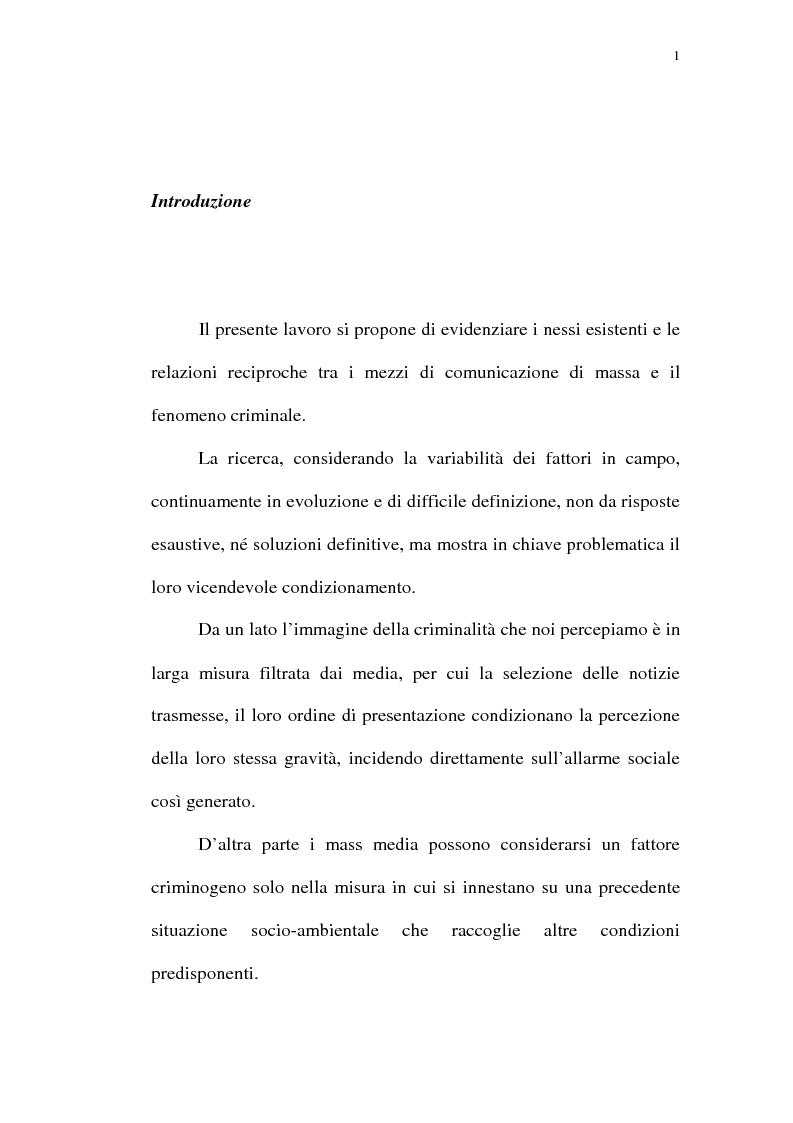Anteprima della tesi: Mass media e criminalità, Pagina 1