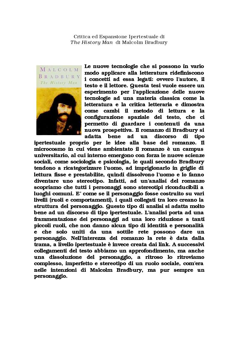 """Anteprima della tesi: Critica ed espansione ipertestuale di """"The History Man"""" di Malcolm Bradbury, Pagina 1"""