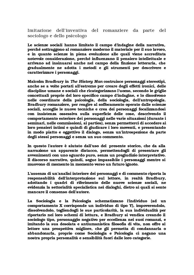 """Anteprima della tesi: Critica ed espansione ipertestuale di """"The History Man"""" di Malcolm Bradbury, Pagina 4"""