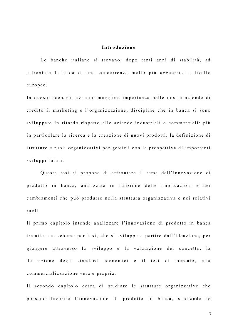 Anteprima della tesi: Innovazione di prodotto in banca: implicazioni organizzative, Pagina 1