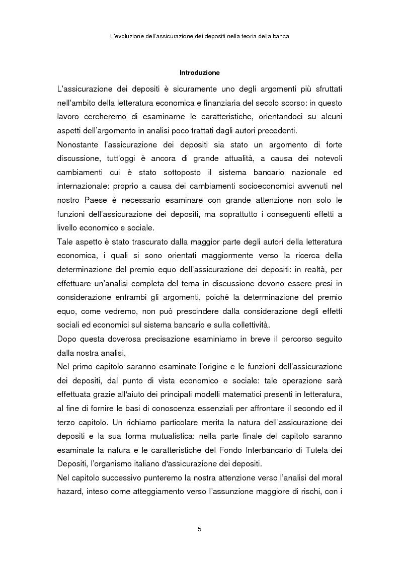Anteprima della tesi: La determinazione del premio dell'assicurazione dei depositi attraverso l'option pricing: un'applicazione al caso italiano, Pagina 1