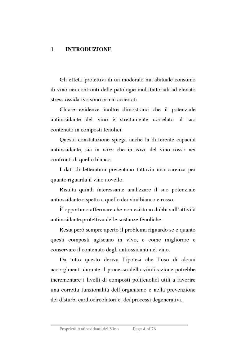 Anteprima della tesi: Proprietà antiossidanti del vino, Pagina 1
