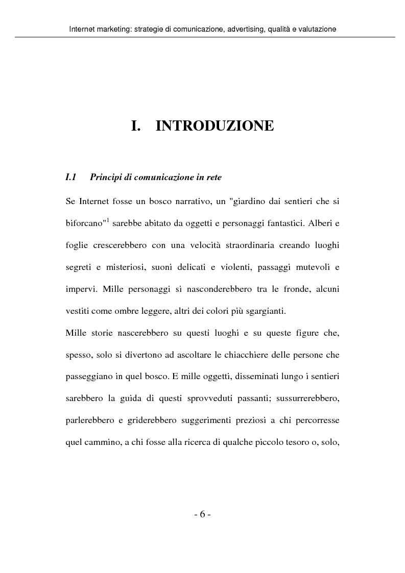 Anteprima della tesi: Internet marketing: strategie di comunicazione, advertising, qualità e valutazione, Pagina 1