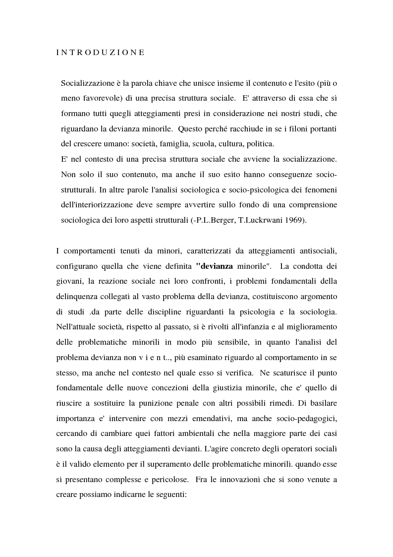 Anteprima della tesi: L'operatore sociale nella giustizia minorile, Pagina 1