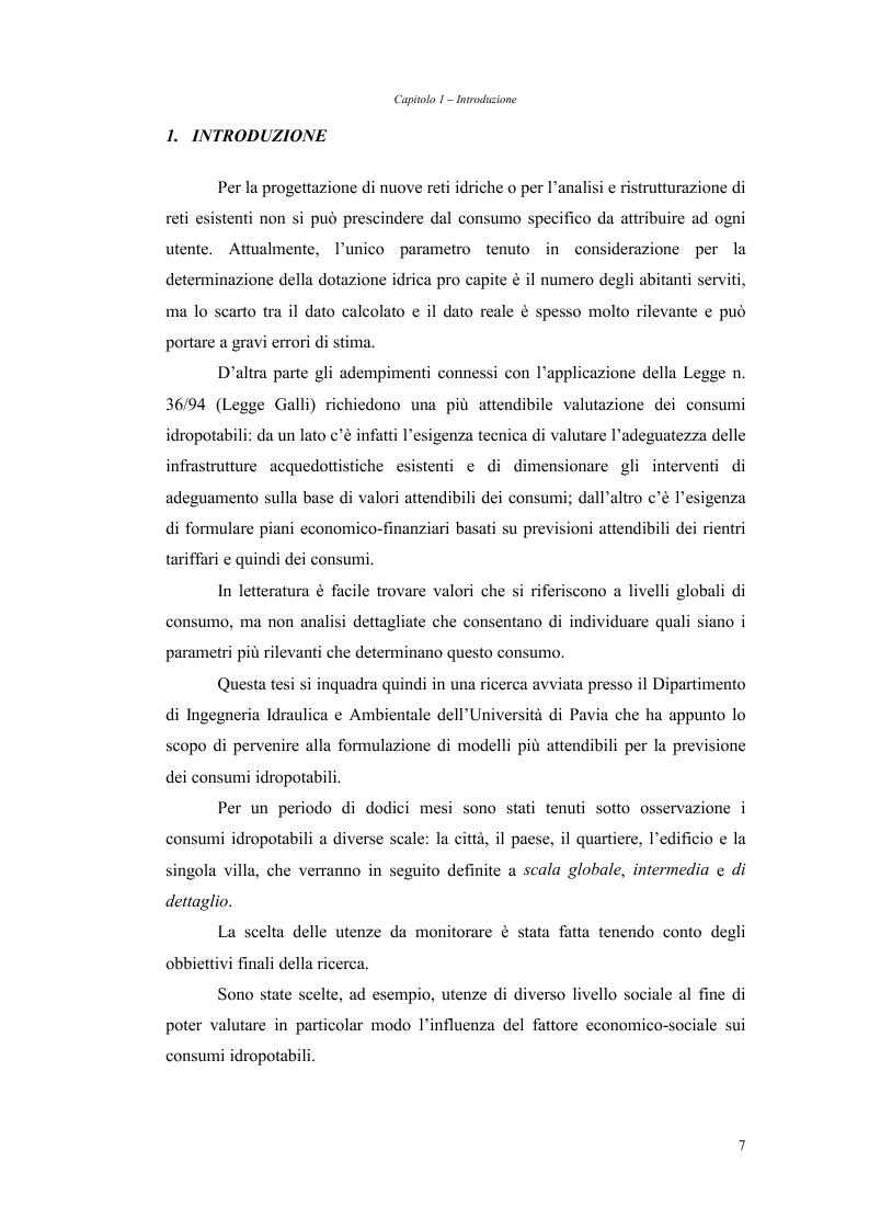 Anteprima della tesi: Analisi dei fabbisogni idropotabili con particolare riferimento ai consumi domestici, Pagina 1