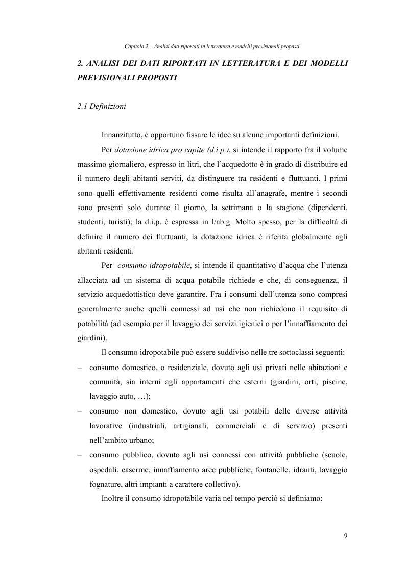 Anteprima della tesi: Analisi dei fabbisogni idropotabili con particolare riferimento ai consumi domestici, Pagina 3