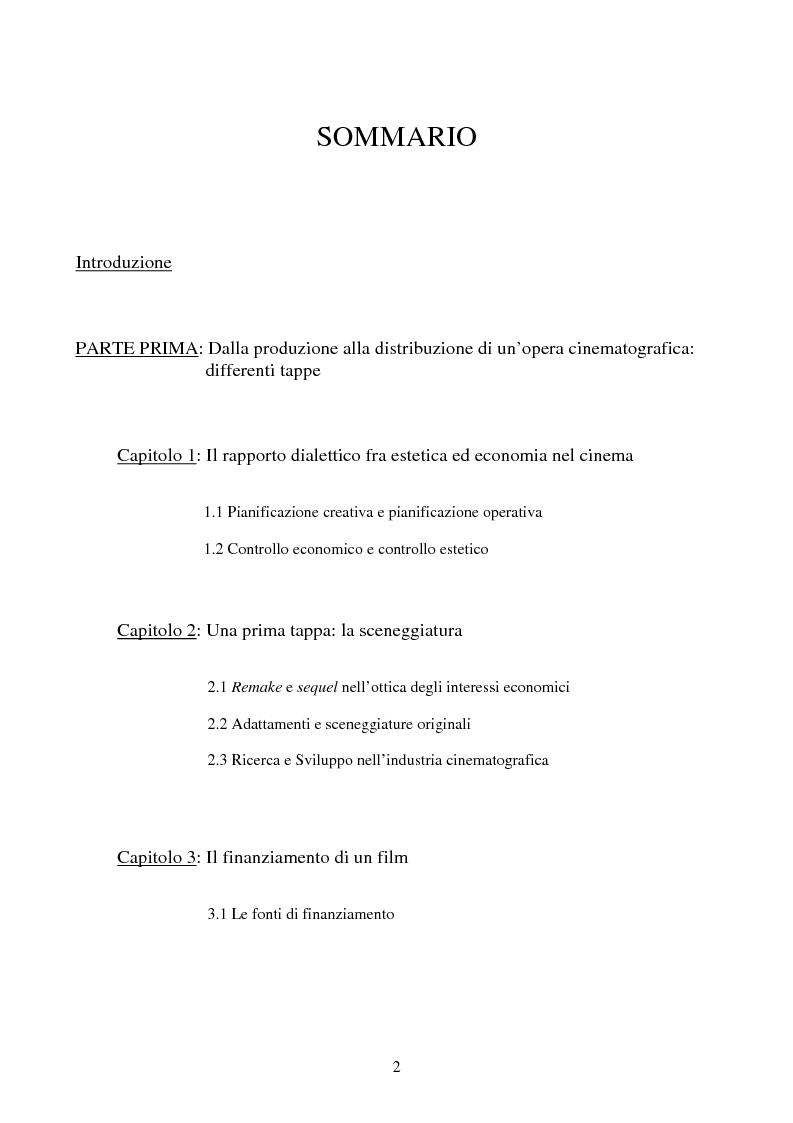 Indice della tesi: Il contributo del marketing all'industria cinematografica: analisi della realtà francese, Pagina 1