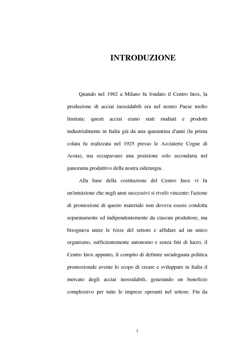Studio dello sviluppo del mercato dei materiali: il caso acciaio inossidabile in Italia - Tesi di Laurea