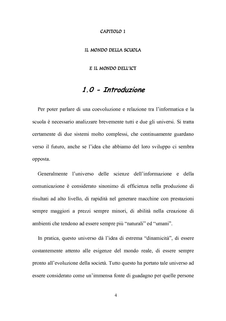 Anteprima della tesi: Computer, insegnamento, scuola: esperienze e prospettive, Pagina 1
