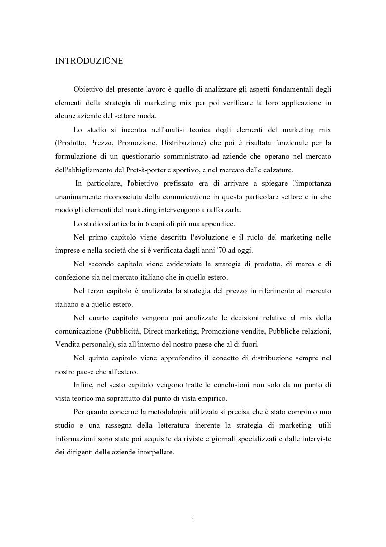 Anteprima della tesi: Il marketing mix e le sue applicazioni in aziende che operano nel settore moda, Pagina 1