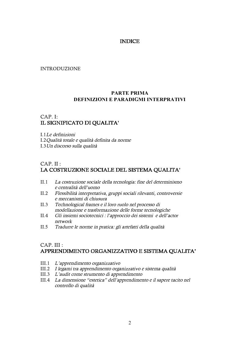 Indice della tesi: Processi di apprendimento e cambiamento organizzativo inerenti l'implementazione del sistema qualità in azienda, Pagina 1
