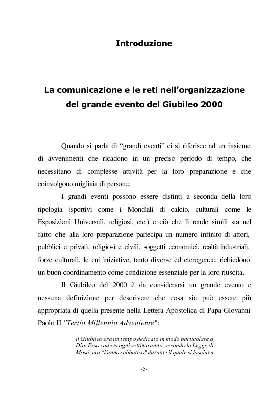 Anteprima della tesi: Le nuove vie del Giubileo. Il ruolo delle reti nell'agenzia romana, Pagina 1