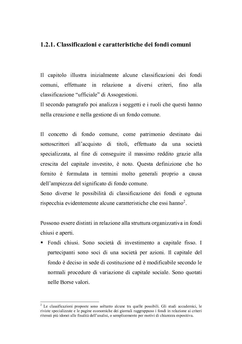 Anteprima della tesi: I fondi comuni di investimento: elementi di valutazione della performance, Pagina 11