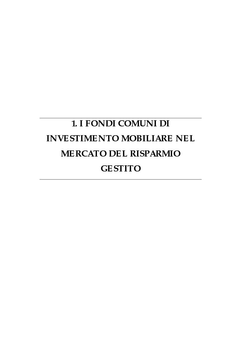 Anteprima della tesi: I fondi comuni di investimento: elementi di valutazione della performance, Pagina 4