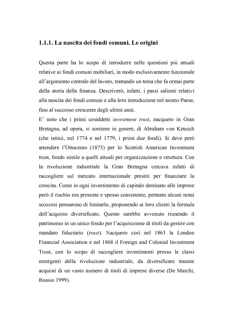 Anteprima della tesi: I fondi comuni di investimento: elementi di valutazione della performance, Pagina 6