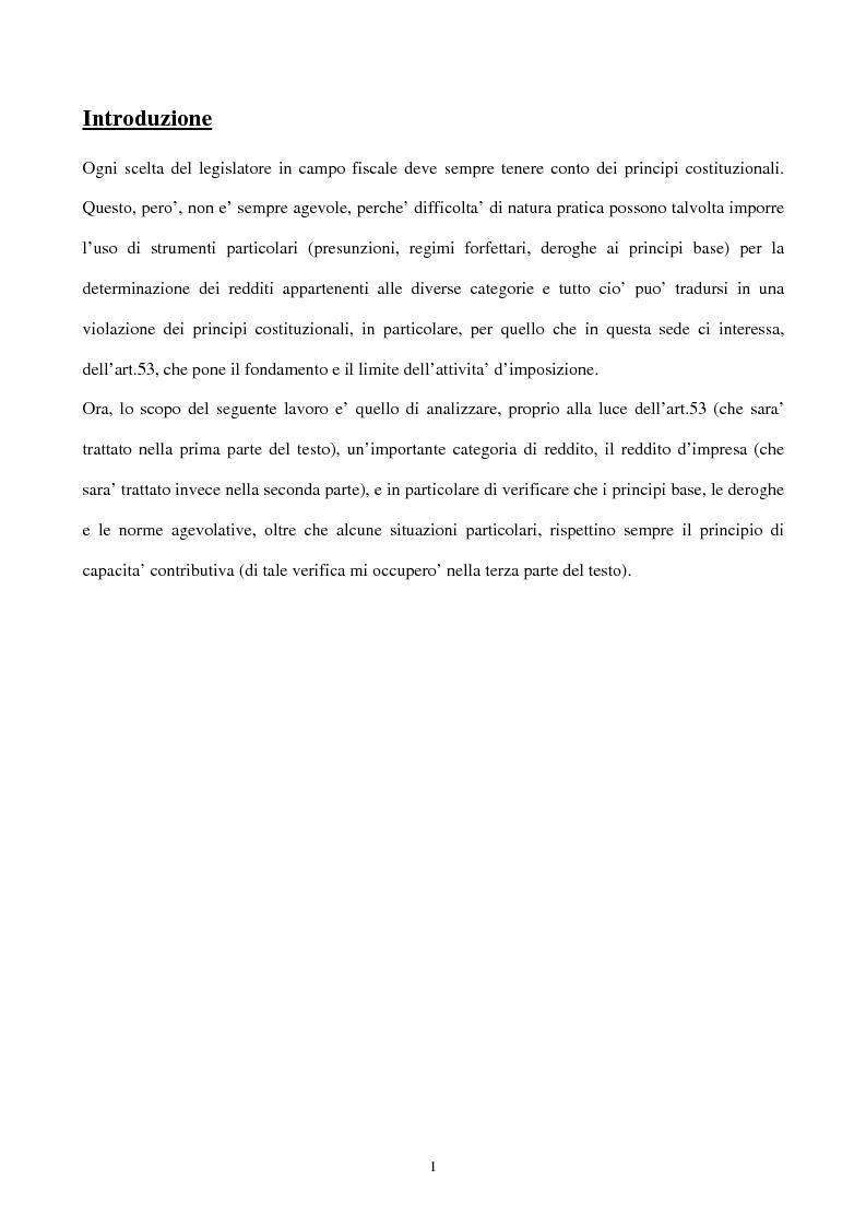 Anteprima della tesi: Il principio di capacità contributiva ed il reddito d'impresa, Pagina 1