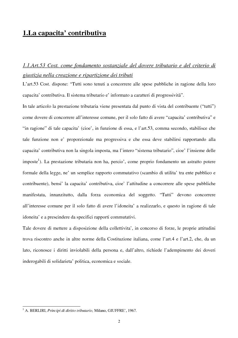Anteprima della tesi: Il principio di capacità contributiva ed il reddito d'impresa, Pagina 2