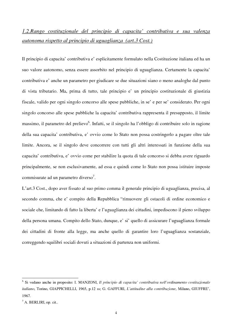 Anteprima della tesi: Il principio di capacità contributiva ed il reddito d'impresa, Pagina 4