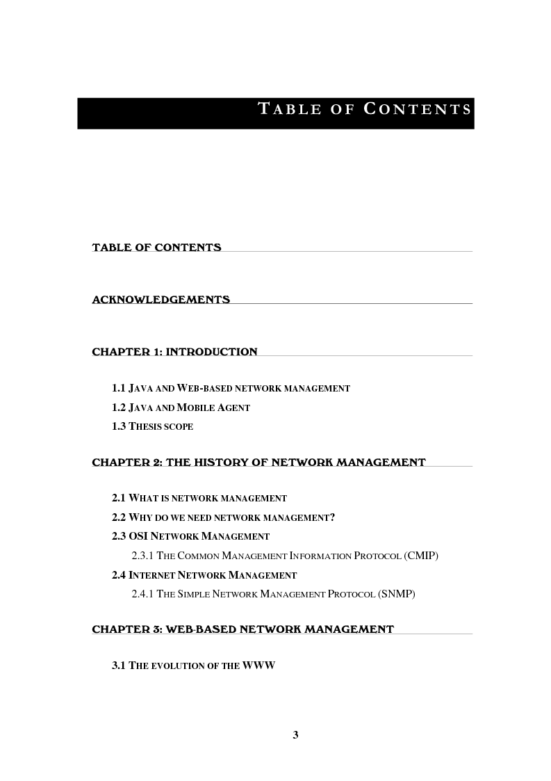 Indice della tesi: New technologies for network management and distance learning, Pagina 1