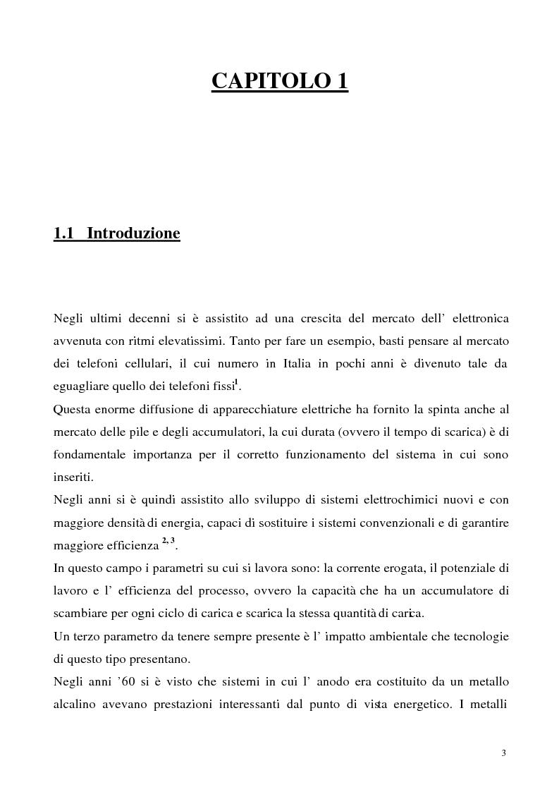 Anteprima della tesi: Sintesi e caratterizzazione chimico-fisica di materiali anodici per accumulatori leggeri, Pagina 1