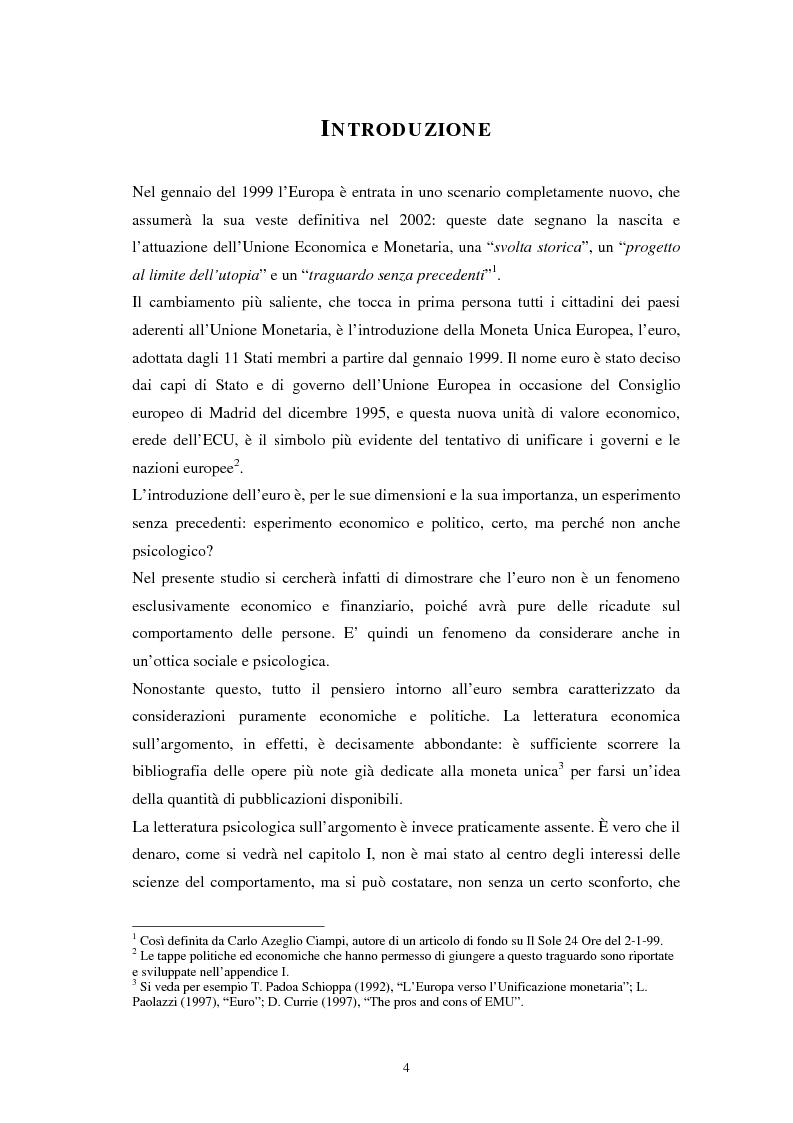 Anteprima della tesi: L'euro: aspetti psicosociali dell'introduzione della moneta unica europea, Pagina 1