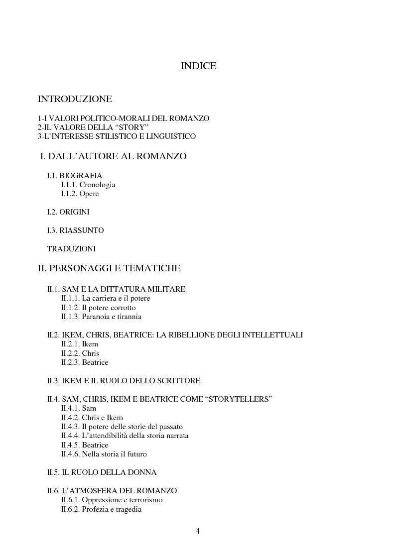 Indice della tesi: Tematiche e linguaggio in Anthills of the Savannah di Chinua Achebe, Pagina 1