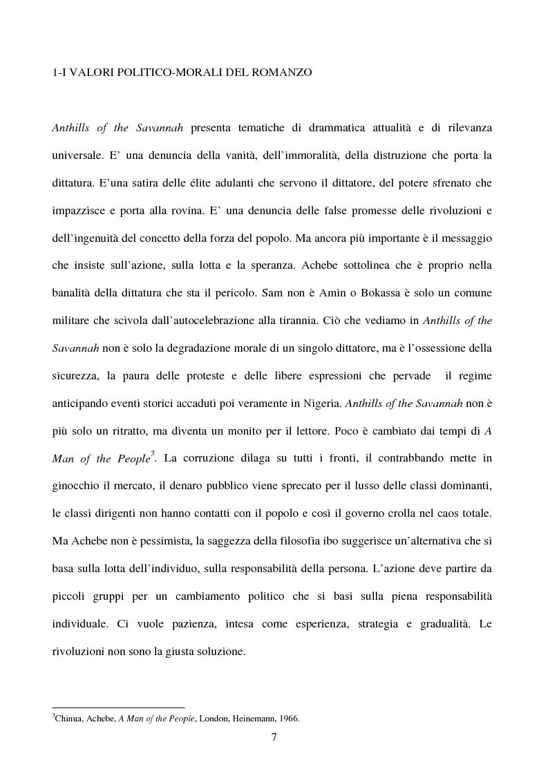 Anteprima della tesi: Tematiche e linguaggio in Anthills of the Savannah di Chinua Achebe, Pagina 2