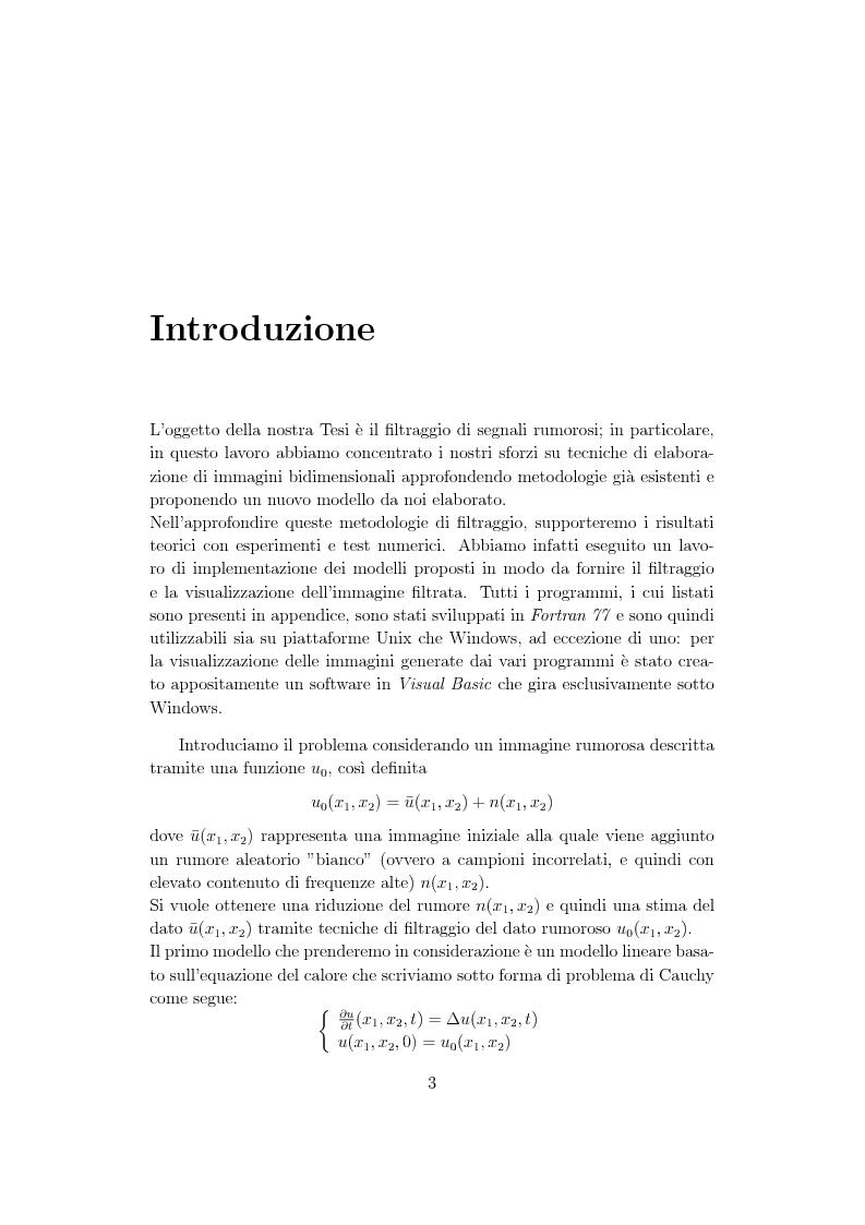 Anteprima della tesi: Metodi di controllo ottimo attivo nella elaborazione adattativa di immagine, Pagina 1