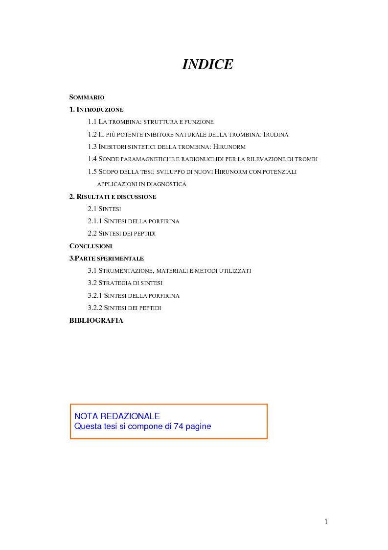 Indice della tesi: Sintesi e caratterizzazione di nuovi inibitori della trombina, Pagina 1