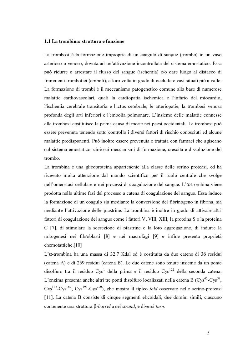 Anteprima della tesi: Sintesi e caratterizzazione di nuovi inibitori della trombina, Pagina 4