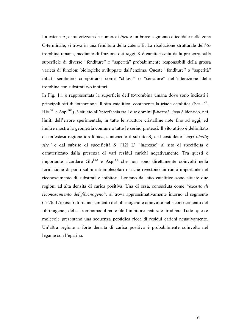 Anteprima della tesi: Sintesi e caratterizzazione di nuovi inibitori della trombina, Pagina 5