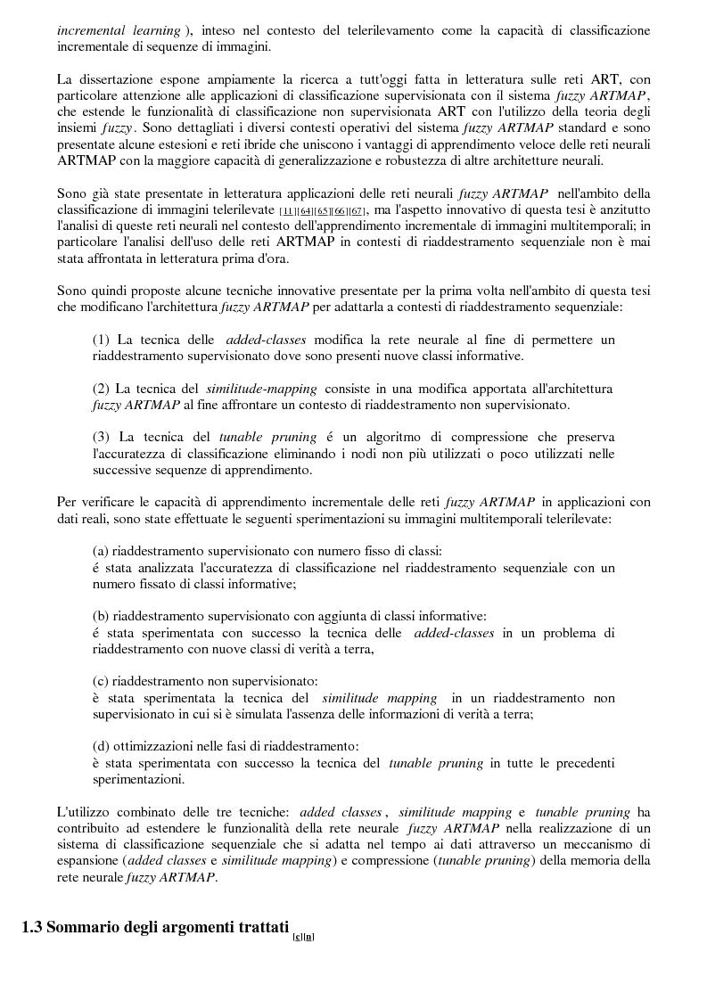 Anteprima della tesi: La classificazione di immagini telerilevate mediante reti neurali fuzzy Artmap: tecniche di apprendimento incrementale, Pagina 3