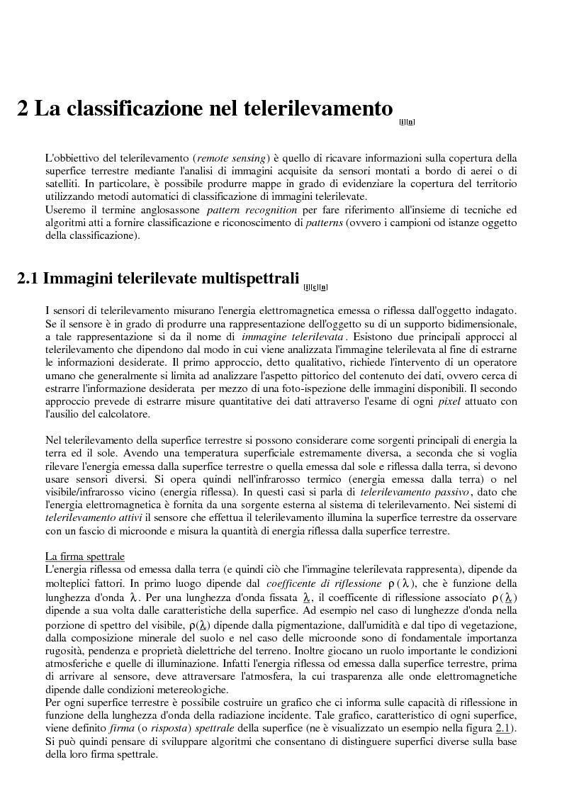 Anteprima della tesi: La classificazione di immagini telerilevate mediante reti neurali fuzzy Artmap: tecniche di apprendimento incrementale, Pagina 6