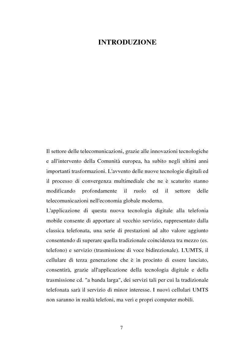 Anteprima della tesi: La libertà di informazione ed altre problematiche connesse alla telefonia mobile di terza generazione, Pagina 1