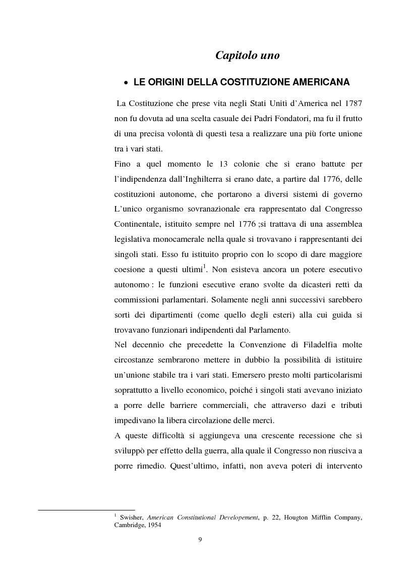 Anteprima della tesi: Evoluzione dei rapporti tra il Presidente degli Stati Uniti ed il Congresso, Pagina 5