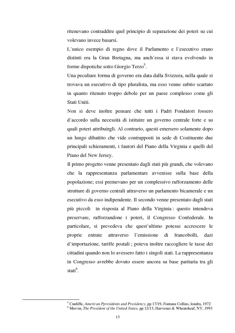 Anteprima della tesi: Evoluzione dei rapporti tra il Presidente degli Stati Uniti ed il Congresso, Pagina 9