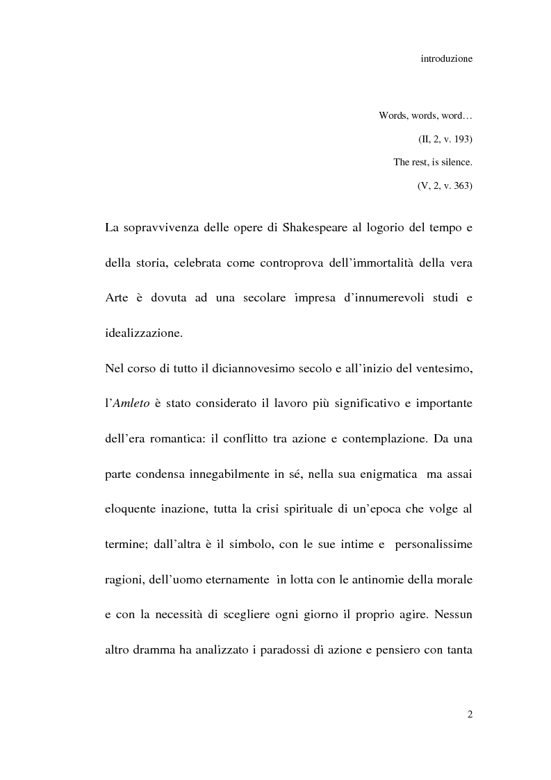 Anteprima della tesi: Amleto: so tell him the rest is silence, Pagina 1