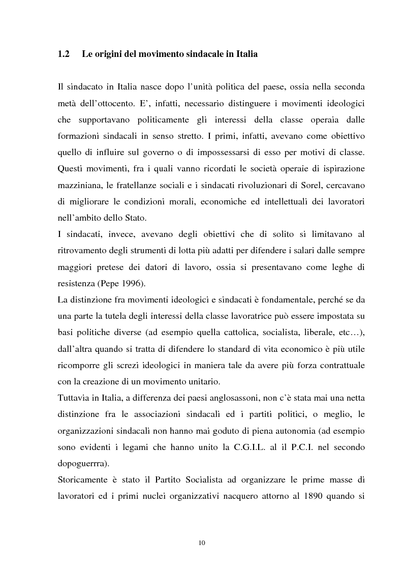 Anteprima della tesi: Un'analisi della sindacalizzazione in Italia, Pagina 7