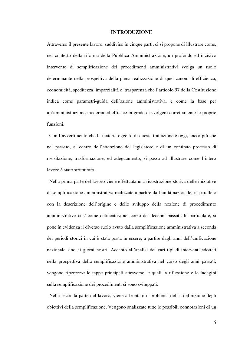 Anteprima della tesi: La semplificazione dei procedimenti amministrativi, Pagina 1