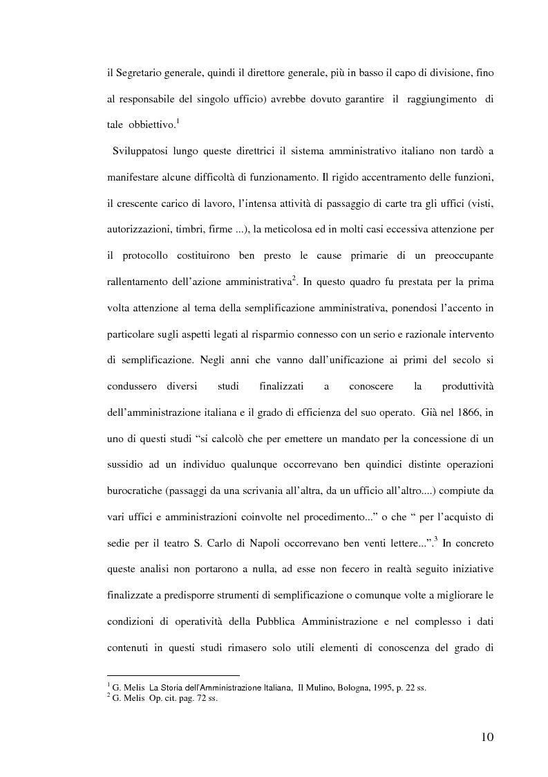 Anteprima della tesi: La semplificazione dei procedimenti amministrativi, Pagina 5