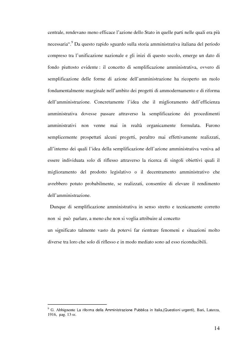Anteprima della tesi: La semplificazione dei procedimenti amministrativi, Pagina 9