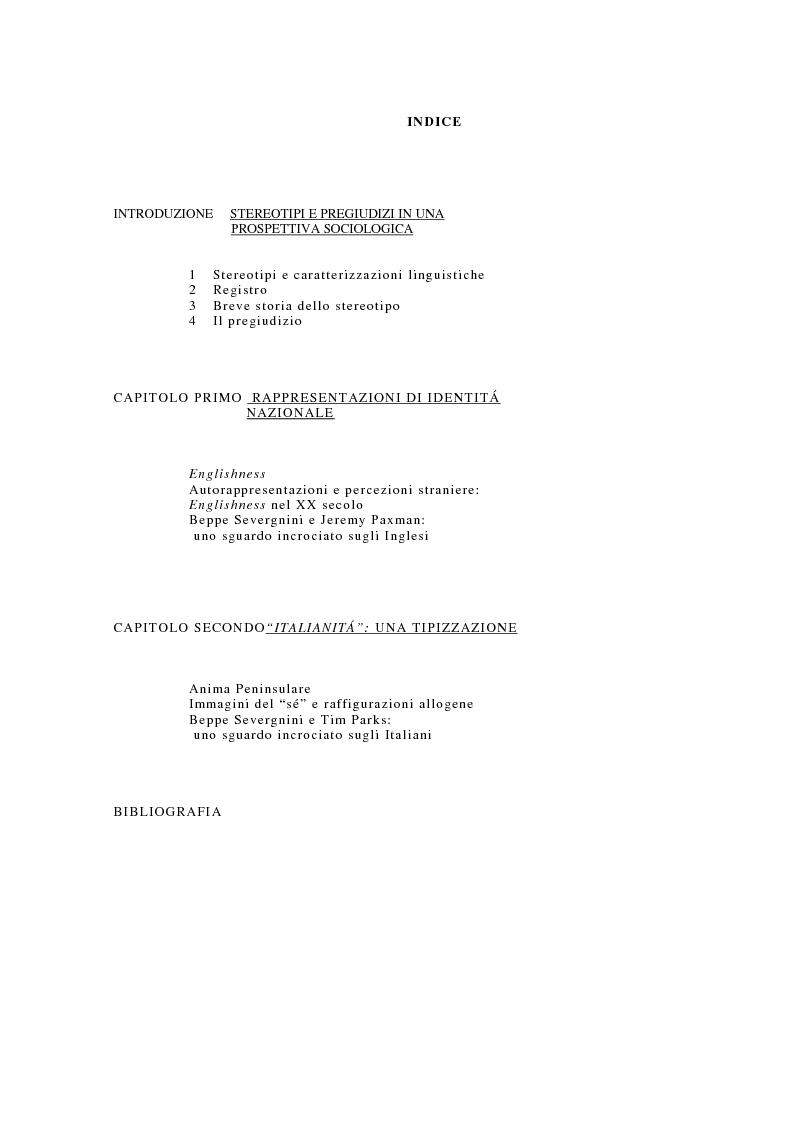 Indice della tesi: Englishness e italianità nei discorsi giornalistici: Tim Parks, Jeremy Paxman, Beppe Severgnini, Pagina 1