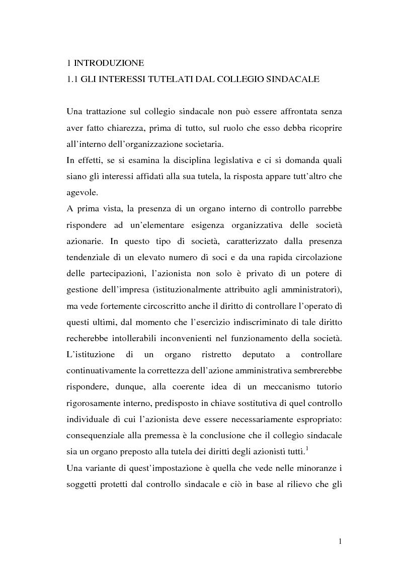 Anteprima della tesi: Il collegio sindacale dopo la riforma Draghi, Pagina 1