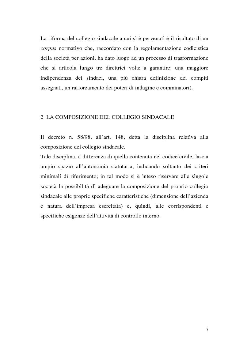 Anteprima della tesi: Il collegio sindacale dopo la riforma Draghi, Pagina 7