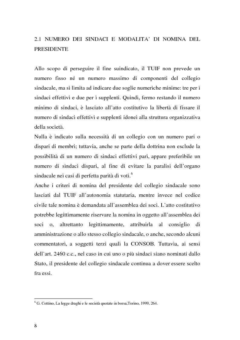 Anteprima della tesi: Il collegio sindacale dopo la riforma Draghi, Pagina 8
