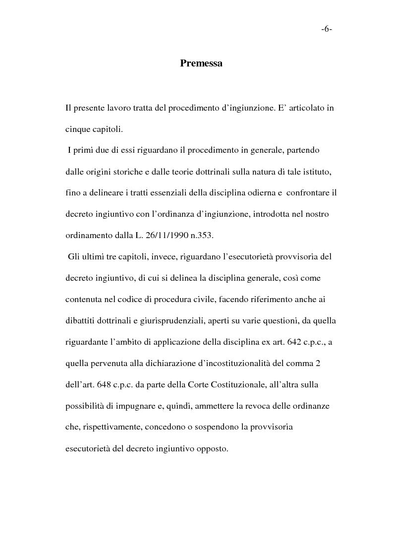 Anteprima della tesi: L'esecutorietà provvisoria del decreto ingiuntivo, Pagina 1